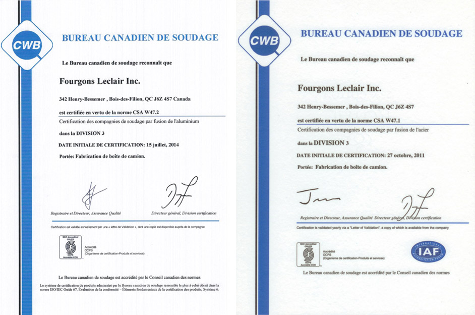 Fourgons Leclair - certification
